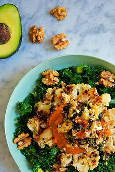 Love-Massaged Kale Salad with Roasted Cauliflower Steaks
