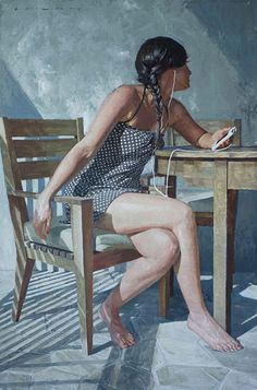 Artist: Casey Childs {contemporary figurative female iphone seated woman profile untitled painting} Tuned !!