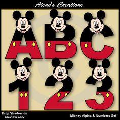 Mickey 2 alfabeto y números conjunto de por AisnesCreations en Etsy