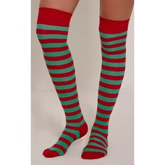 Icia Green Candy Cane Stripe Over The Knee Socks ($1.28) ❤ liked on Polyvore featuring intimates, hosiery, socks, green, overknee socks, fancy socks, christmas socks, green socks and sleep shirts