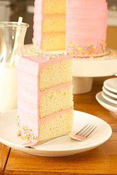 Pink Vanilla Bean Birthday Cake - made with buttermilk, moist, but dense enough to stand up to three layers of cake and frosting.