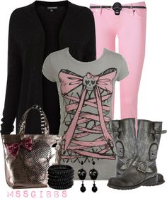"""Skull Tee"" by mssgibbs ❤ liked on Polyvore Not my usual style, but I think it could work!"