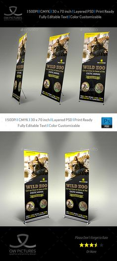 Zoo Signage Roll Up Banner Template by OWPictures Signage Roll-Up Banner Description: Zoo Signage Roll Up Banner Template was designed for business, it's professional and eye