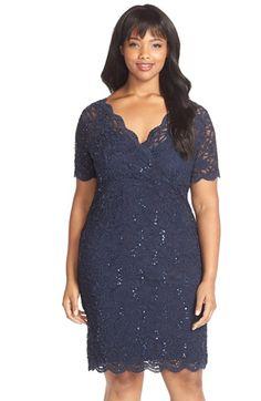 Plus Size Sequin Stretch Lace Cocktail Dress