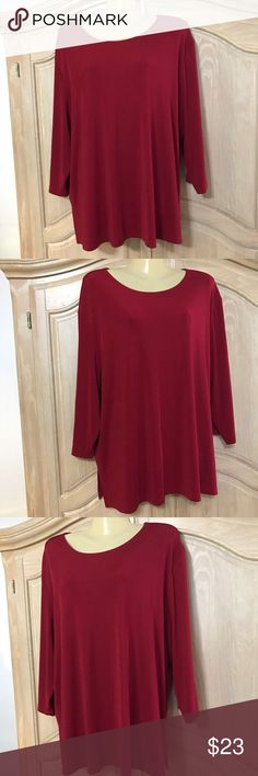 Designer George blouse Blouse in hot red with long sleeves and and round neckline size 22w/24w  90% polyester 10% spandex George Tops Blouses