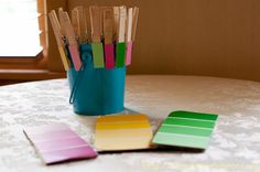 COMPLETED PROJECT 8/2012:  Matching Color Shades // Used clothespins and paint chips.  Great idea for busy bags & fine motor!  Go to my blog to see how I did this project:  http://solaceamidthechaos.blogspot.com/
