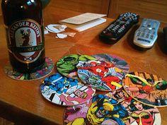 DIY superhero coasters