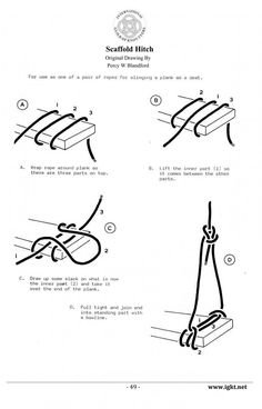 Scaffold Hitch - knots for rope swing. Just the Knot I've been looking for to affix my idea for a rope swing. Survival Knots, Survival Tips, Survival Skills, The Knot, Knots Guide, Diy Hanging Shelves, Rope Shelves, Hanging Shelf Brackets, Rope Swing