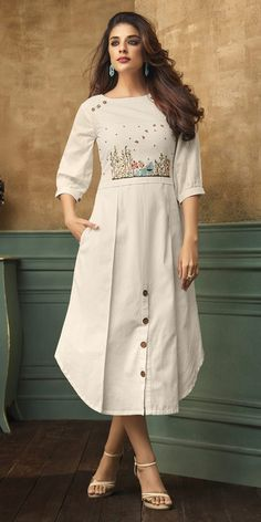 Buy White Embroidered Dress online, SKU Code: This White color Party dresses and gown for Women comes with Embroidered Satin Blend. Simple Kurti Designs, Kurta Designs Women, Salwar Designs, Blouse Designs, Fancy Kurti, Kurti Styles, White Embroidered Dress, Kurta Neck Design, Designs For Dresses