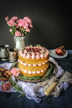 Rhubarb Cake With Pomegranate And Rosemary Buttercream - Sugar et al Sweet Recipes, Cake Recipes, Dessert Recipes, Naked Cakes, Rhubarb Cake, Cuisine Diverse, Piece Of Cakes, Pretty Cakes, Gastronomia