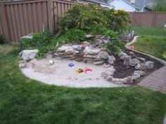 They filled up the pond area with sand and married form with function to create a beautiful sandbox for children to play. Backyard Beach, Backyard For Kids, Outdoor Fun, Outdoor Spaces, Outdoor Decor, Sandbox, House Warming, Organization, Pond Ideas