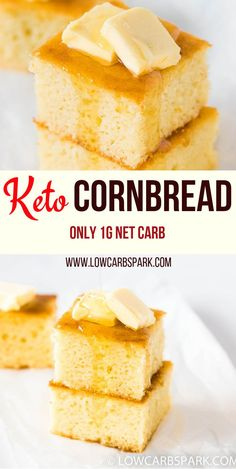 keto This Keto Cornbread is super fluffy, tender, and moist. It has the right amount of sweetness, making it fantastic for dipping into chili, soups or stews or top with butter and have it as a Keto Corn Bread, Low Carb Bread, Low Carb Keto, Bread Diet, Low Carb Food, Keto Carbs, Low Carb Sweets, Quick Snacks, Keto Snacks