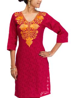 Awesome Collections of Cotton Jacquard Embroidered kurti, Capture all eyes with your casual look on this blue,violet,red,pink cotton jacquard kurti Click Here to buy: http://www.artncraftemporio.com/handcrafted-apparels/kurtis