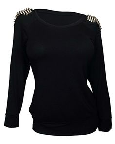 eVogues Plus Size Shoulder Spike Studded Long Sleeve Top Black  2X -- Check out this great product.Note:It is affiliate link to Amazon.