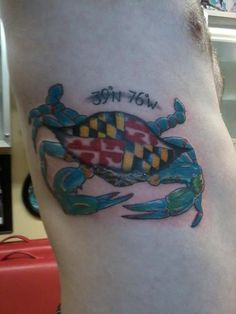 Maryland Flag Crab Tattoo
