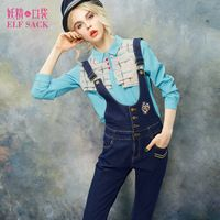 ELF SACK fashion brand new arrival 2015 spring women applique embroidered slim suspenders jeans pants buttons free shipping