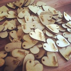 3mm MDF laser cut hearts with guest names for wedding