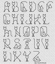 Cat Alphabet in stitches. Bullet Journal Font, Journal Fonts, Bullet Font, Hand Lettering Alphabet, Calligraphy Alphabet, Calligraphy Fonts, Script Fonts, Pretty Fonts Alphabet, Alphabet Fonts