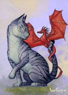 Hitchhiker Two Cat, fantasy and whimsical images by Magic the Gathering and dragon Storm artist Susan Van Camp. Warrior Cats, Fantasy Dragon, Fantasy Art, Fantasy Creatures, Mythical Creatures, Dragon's Lair, Gatos Cats, Dragon Pictures, Dragon Rider