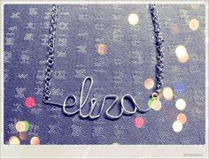 Wire necklace; name Eliza