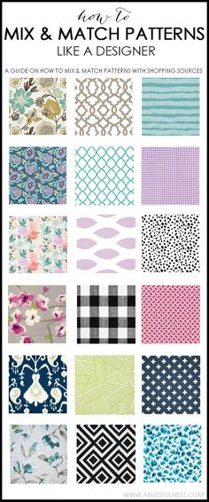 Learn how to mix patterns like a designer for a totally unique and custom look. It is easy! We promise and we've got a guide to hold your hand through it! Check it out on ablissfulnest.com