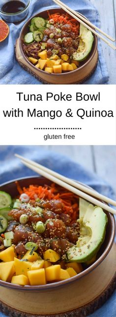 Tuna Poke Bowl with Mango and Quinoa - a hearty and healthy lunch full of protein!  {gluten free}