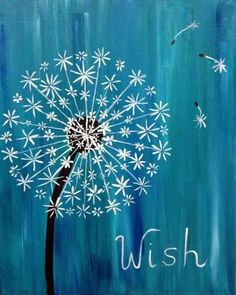 wine and canvas painting ideas Easy Canvas Painting, Diy Painting, Painting & Drawing, Dandelion Painting, Simple Acrylic Paintings, Simple Flower Painting, Cute Easy Paintings, Acrylic Painting For Kids, Dandelion Drawing