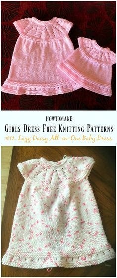 Lazy Daisy All-in-One Baby Dress Free Knitting Pattern - Little Girls #Dress Free #Knitting Patterns