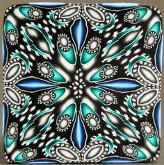 Polymer Clay Square Kaleidoscope Cane 'Mortal Coil' by ikandiclay