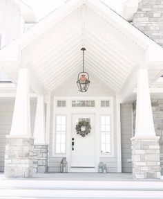 Unique Home Exterior with Stone Ideas. The building exterior is the most important part of a building. The majority of the exterior of the building functioned as a decorative building. White Exterior Houses, Grey Exterior, Grey Houses, Exterior House Colors, Stone Exterior, Craftsman Door, Craftsman Exterior, Craftsman Style, Exterior Doors With Sidelights