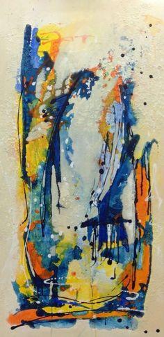 Blue, schilderij van Jolanda van  Hattum   Abstract   Modern   Kunst