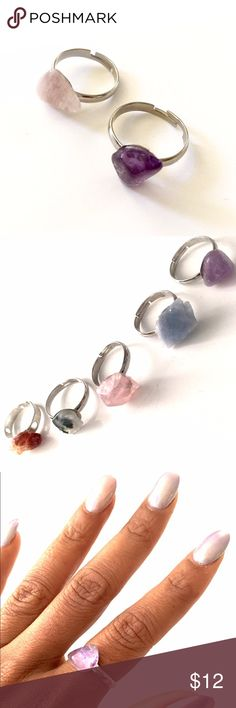 2 gem stone midi rings 2 handmade gem stone cute real stone rings. The ring is adjustable 💜💜💜 you receive one of the two out of the picture .. Surprise could be an (amethyst, rose quartz,  Quartz, citrine, agate, aquamarine) chablee.com Jewelry Rings