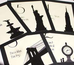 NYC Table Numbers New York City Wedding Decor Reception Sign Cards Landmark Icons Made to Order