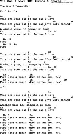 Love Song Lyrics for: The One I Love-REM with chords for Ukulele, Guitar Banjo etc.
