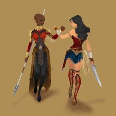 Shuri (Black Panther) and Diana (Wonder Woman) National Woman's Day <<< excuse you that's not Shuri, that's Okoye Black Panthers, Character Drawing, Comic Character, Shuri Black Panther, Black Panther Art, Super Heroine, Univers Dc, Mundo Comic, Dc Memes