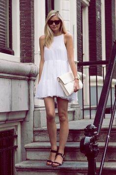 girly dress + casual heels