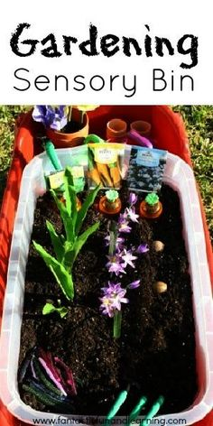 Garden Sensory Bin-he already loves to play in the dirt and plants.