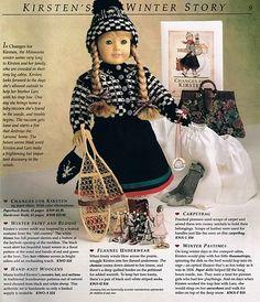Living A Doll's Life : Kirsten's Winter Story + St. American Girl Catalog, Original American Girl Dolls, American Girl Doll Room, American Girl Books, American Girl Clothes, American Girls, Doll Clothes Patterns, Clothing Patterns, Doll Patterns
