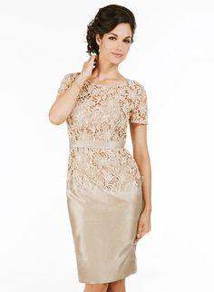 Mother of the Bride Dresses - $150.52 - Sheath/Column Scoop Neck Knee-Length Taffeta Mother of the Bride Dress (0085092616)