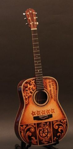 Hand Painted Guitar -artwork by Clark Hipolito- custom built by Lichty Guitars for Mike Gossin of Gloriana www.art-company.com http://lichtyguitars.com