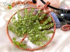 Tree of Life pendant jewelry tutorial - step by step coiled woven beaded wire wrapped wirework lesson - DIY instruction digital download pdf. $7 via Etsy.