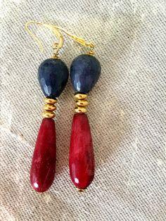 Orecchini pendenti, orecchini eleganti, glamour, chic, orecchini etnici, radice rubino, agata, pietre dure, regalo per lei, matrimonio di LesJoliesDePanPan su Etsy
