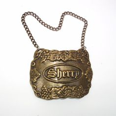 Vintage Liquor Decanter Sherry Hanging Tag Pewter by WhimzyThyme