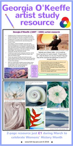 Celebrate #IWD with a fantastic artist resource on Georgia O'Keeffe for just £1. Students complete a comprehension task about the artists and a practical activity responding to their work. #artteacher #resources #arthistory