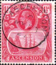 Ascension Islands Stamps 1924 King George V Ship SG 12 Fine Used Scott 12 Other Ascension Island Stamps HERE