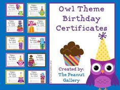 """Your students will have an """"owl-some"""" birthday with these owl theme birthday certificates. Ten different colorful birthday certificates are included in both full page and quarter page size. Enjoy!"""