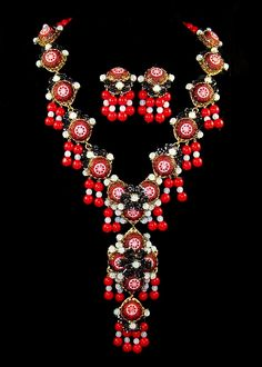 Stanley Hagler NYC 'Moroccan Matrix' Jet Seed Bead Red Mosaic Necklace Earrings | eBay