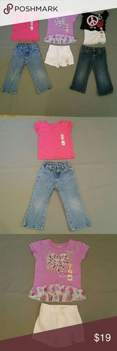 Girl's 3T Garanimals + Denim Outfit Bundle -3 Outfits ($50 Value) -Riders Light Denim Jeans with NWT Garanimals SS Pink Tee -NWT Garanimals Purple Tee & White Shorts  (both NWT) -Old Navy Dark Denim Jeans & NWT Garanimals Black Crop Tee with Tank Various Matching Sets