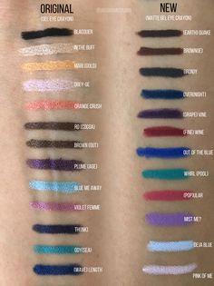 Marc Jacobs Highliner original and new matte gel eye crayon swatches Makeup Swatches, Makeup Dupes, Makeup Brands, Makeup Products, Makeup Goals, Beauty Makeup, Make Up Marken, Matte Eye Makeup, Matte Gel