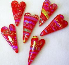 Fused glass hearts by Glass Garden Creations / Sharon Kelly